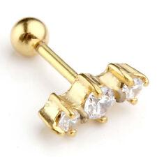 316L Surgical Steel Clear CZ Gem Tragus Cartilage Ear Stud Earring Piercing Gold