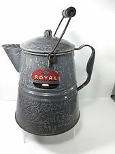 "Antique 13"" Gray Mottled Graniteware, Enamelware Coffee Pot Kettle, Original Tag"
