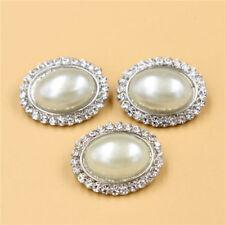 Strassknopf oval mit Perle ca. 25x20 mm mit Öse