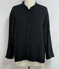 Eileen Fisher Womens L Black Viscose Linen Banded Collar Boxy Button Down Top