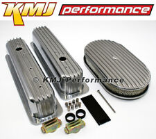 """SBC Chevy 5.7L Full Finned Retro Vortec Aluminum Valve Covers & 15"""" Air Cleaner"""