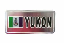 YUKON CANADA TERRITORY FLAG-SILVER LICENSED STICKER FLAG PLATE..SIZE:6 X 3 IN.