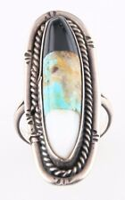 Vintage Silver Black Onyx Ring (Size 9) Inlayed Turquoise & Mother-of-Pearl