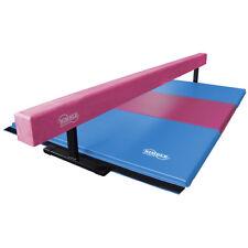 Nimble Sports Raised Pink Balance Beam with Pink and Light Blue Gymnastics Mat