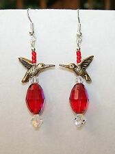 Handmade GOLDEN HUMMINGBIRDS & AB RED CRYSTAL GLASS BEAD DROP DANGLE EARRINGS