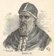 A7688 Giulio II - Xilografia - Stampa Antica del 1927