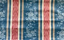 Vintage Laura Ashley Red , White & Blue Striped Fabric Fat Quarter 22x18 Inches
