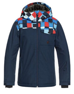 Quiksilver Boys Mission Block Snow Jacket, Blue, Youth 12/ Large