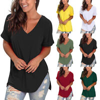 1-Women Loose Fit Short Sleeve T Shirt V-Neck Casual Basic Tunic Top Long Blouse
