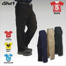 5X CARGO WORK PANTS TROUSERS 100% COTTON DRILL HEAVY WEIGHT DUTY SAFETY WORKWEAR