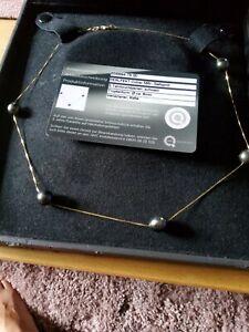 Perlfekt Tahitizuchtperlen Collier 585/- Gelbgold 5 schwarze Perlen 8mm
