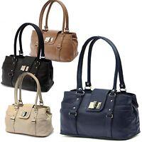 New Ladies Medium Faux Leather Designer Women Shoulder Bag Office Work Handbag