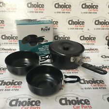 Royal None Stock 4 Piece Pan Set Camping Travel Lightweight Pans 42015 With LID