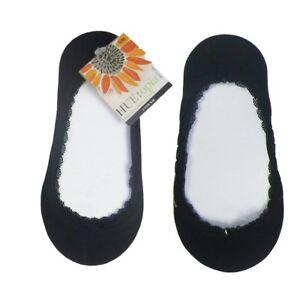 NEW HUE Women's 2 Pair 1 w/ Tag Black HUEtopia Lace Trim Liner Shoe Size 4-7 S/M