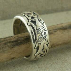 Sterling Silver Celtic Dragon with Black CZ Viking Ring KEITH JACK Size 11.5