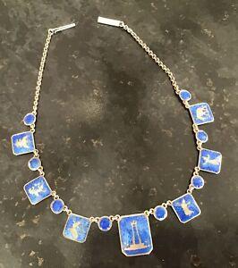 "Vintage Siam Sena 925 Silver & Enamel Necklace Turquoise & Gold Designs 14.25"""