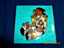 """Handcrafted Cleo Teissedre Art, Ceramic Tile """"The Storyteller"""" 4x4 Excellent"""
