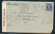 Australia Stamps 195 Sg 3½ d Brt Blue Censored Cover Sydney to Nyc 22May1945