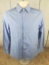 """Men's Tailor & Cutter 14 1/2"""" Collar Blue Check Long Sleeve Shirt Small/S #B1"""