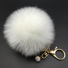8CM Rabbit Fur Fluffy Pompom Ball Handbag Car Pendant Charm Key Chain Keyring