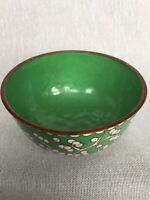 Antique Chinese Cloisonné Emerald Green & White Enamel Small Brass Bowl