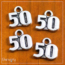 Number 50 charms ~PACK of 4~ numeral anniversary birthday tag antique silver