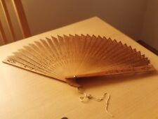 Vintage China Asian Carved Wooden Fan