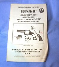 Ruger early Security Six Speed Six Service Six Owner's Instruction Manual 1975
