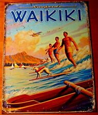 Surf Hawaii Waikiki Tin Metal Retro Sign Travel Poster Vtg Look Wall Decor Art