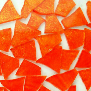 100 BRIGHT ORANGE with Glitter Colored glass pieces  by Makena Tile