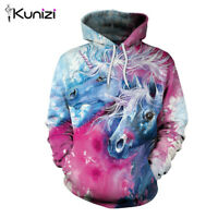 KUNIZI Women Sweatshirt Hoodies Unicorn Print Casual Pullover Loose Hooded Girls