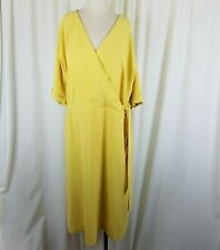 Ann Taylor Factory Wrap Side Tie Yellow Chiffon Midi Dress Womens XL NWT $110
