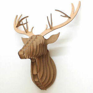 3D Stag Animal Head - Slot Together 22 Parts Mdf Wooden Wall Art Puzzle Display