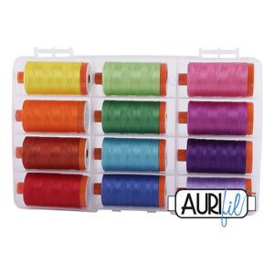 THE BRIGHT COLLECTION  AURIFIL THREAD SET 50 wt large spool cotton thread
