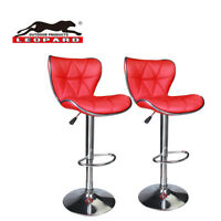 Leopard Shell Back Adjustable Swivel Bar Stools with Back, Set of 2 - Red