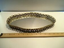"""Vintage Vanity Gold Tone Metal Filigree Tray 15"""" long x 10"""" wide with mirror"""