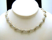Crown Trifari Vintage Necklace 1960s Textured Silver Tone Rhinestone Choker