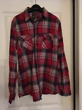 Burton Snowboards Button Up Shirt Blue/Red/Grey Medium