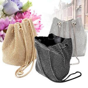 Fashion Womens Charming Bucket Rhinestone Evening Clutch Handbags Club Pouch Bag