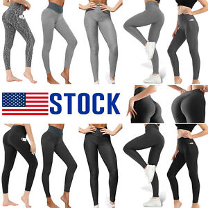 Womens Anti-Cellulite High Waisted Yoga Pants Ruched Push Up Butt Lift Leggings
