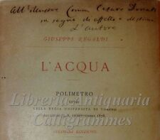 POESIA: Giuseppe Regaldi, L'ACQUA Polimetro 1879 Università Torino Dedica Autore