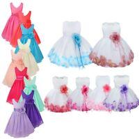 Flower Girl Dress Petals Party Wedding Bridesmaid Formal Princess Communion Gown