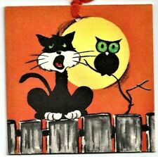 Vintage 1940's Gibson Halloween Party Tally Card Black Cat on fence, Owl, Moon