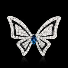 Fashion Jewelry Flying Butterfly Rhinestone Rhodium Plated Scarf Pin and Brooch