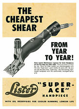 """Lister Shearing Handpiece """"Super Ace"""" Metal Repod Sign 166"""