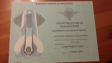2e Regiment De Etranger De Parachutist  CERTIFICATE   French Foreign Legion