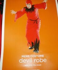Mens DEVIL COSTUME Long ROBE With HOOD Belt New RED Halloween