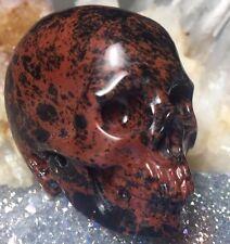 MAHOGANY OBSIDIAN CRYSTAL SKULL! Realistic Skull Carving. Red & Black PATTERNS!