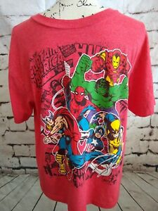 Official Marvel Comics T-Shirt  Red Youth XL  Adult Small  Hulk Thor Spiderman