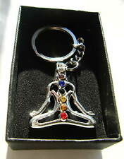 Chrome Metal Yoga Keyring Key Fob Yoga Figure Height 35mm Gift Boxed